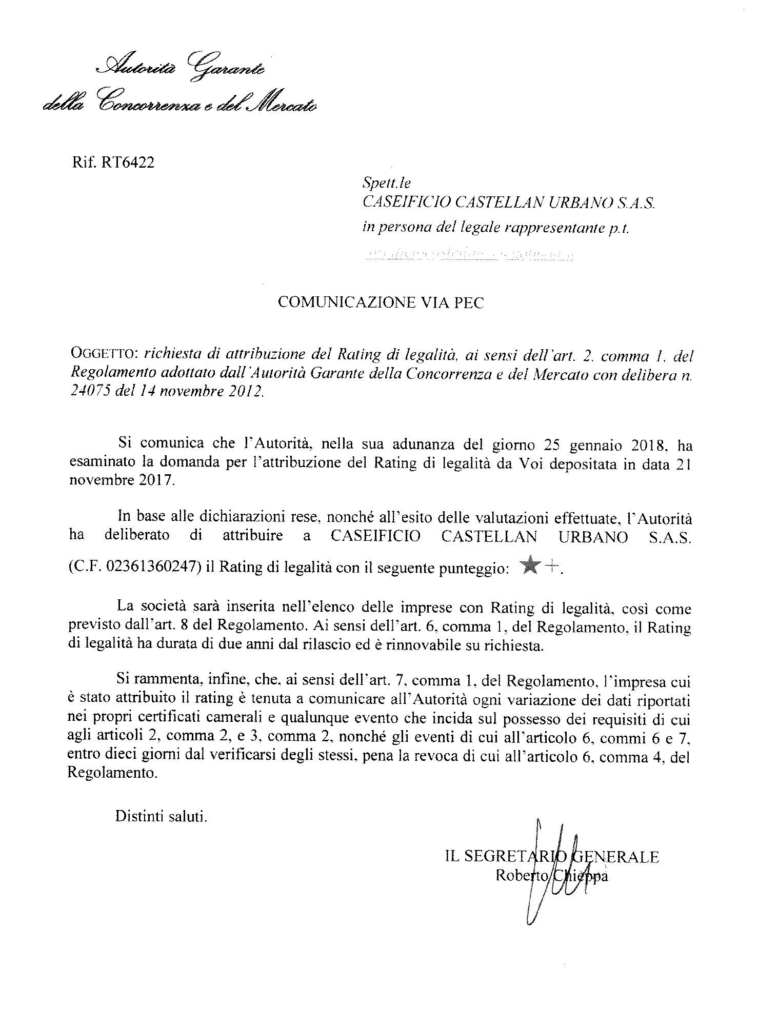 Rating legalità 2018 Caseificio Castellan Urbano