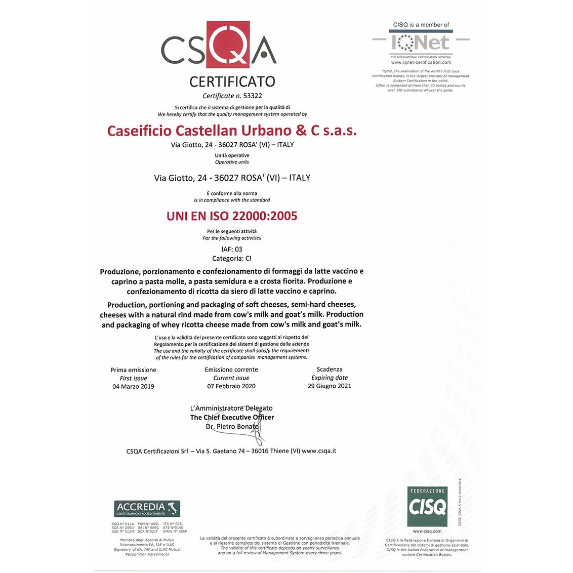 RILASCIO CERTIFICAZIONE UNI EN ISO 22000:2005